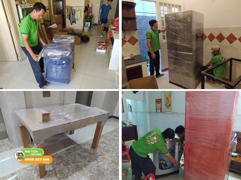 Nhân viên Hailua Moving đóng gói cẩn thận khi chuyển nhà